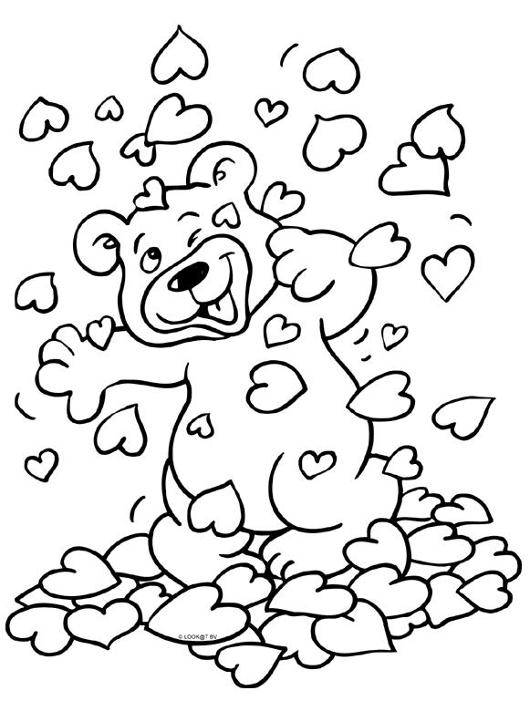 knuffelbeer kleurplaten valentijnen valentijnsdag