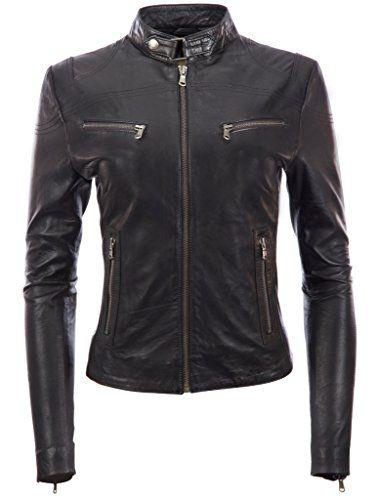 Super stylisgh moto cuir synthétique noir veste