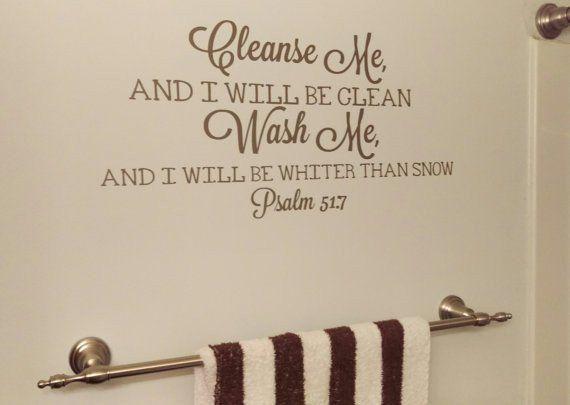 bathroom decor cleanse me wash me vinyl wall decal bible verse bathroom sticker home decor