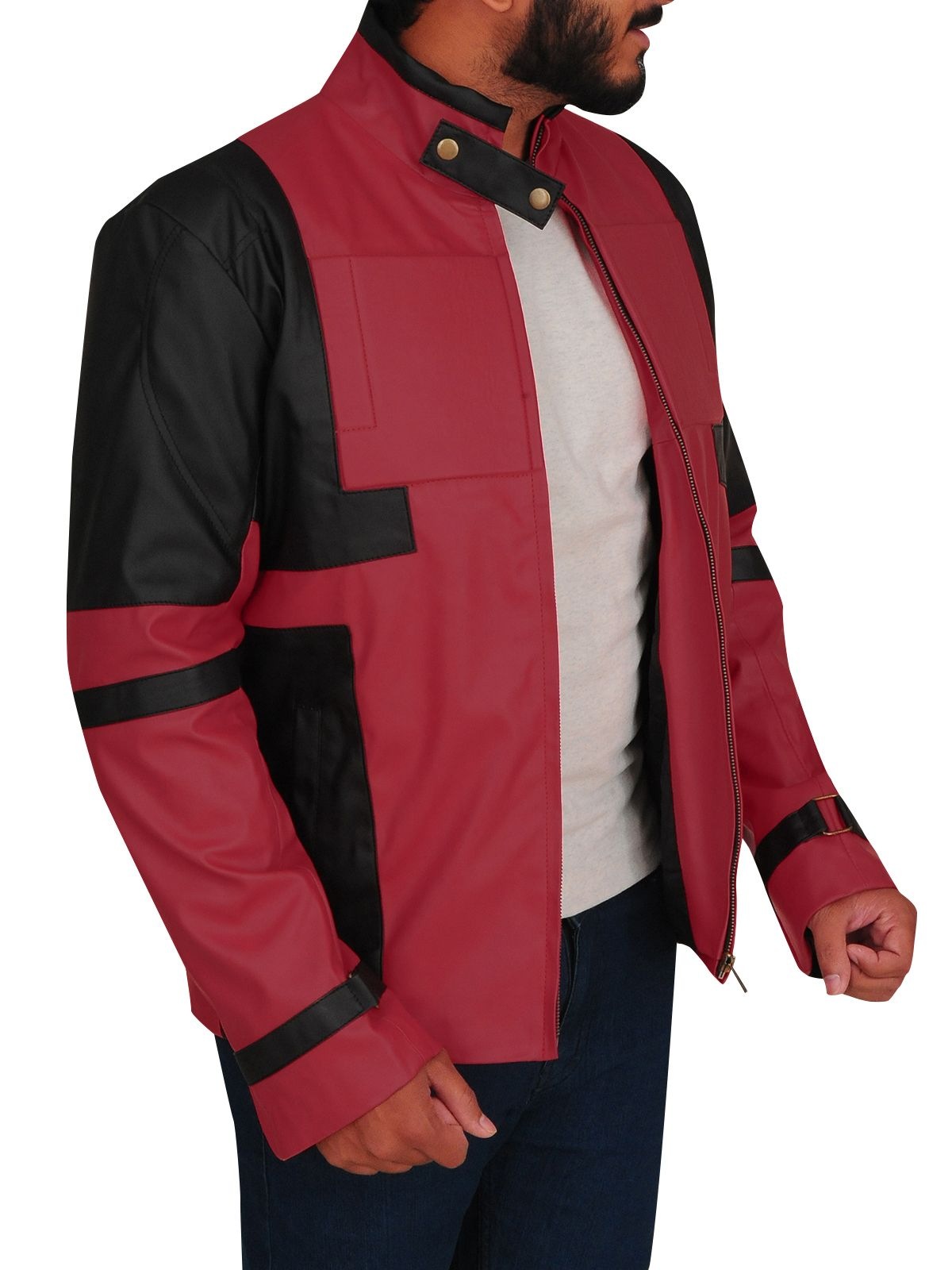 1c222731e6a0f MauveTree present you this cool looking red and black biker jacket for men.  It is made up of faux leather. The design of the jacket is inspired by  costume ...