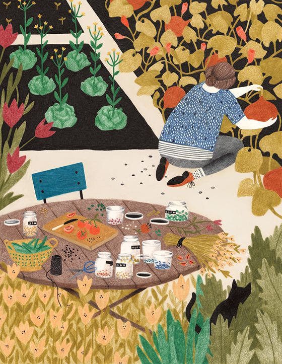 Artist: Lieke van der Vorst-4-Design Crush. Illustration: Woman and her cat working in garden with Tea set out.
