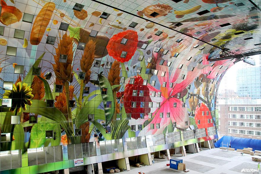 A New Market Hall Has Opened Its Doors In Rotterdam In The - Incredible 36000 sq ft mural lines ceiling market hall rotterdam