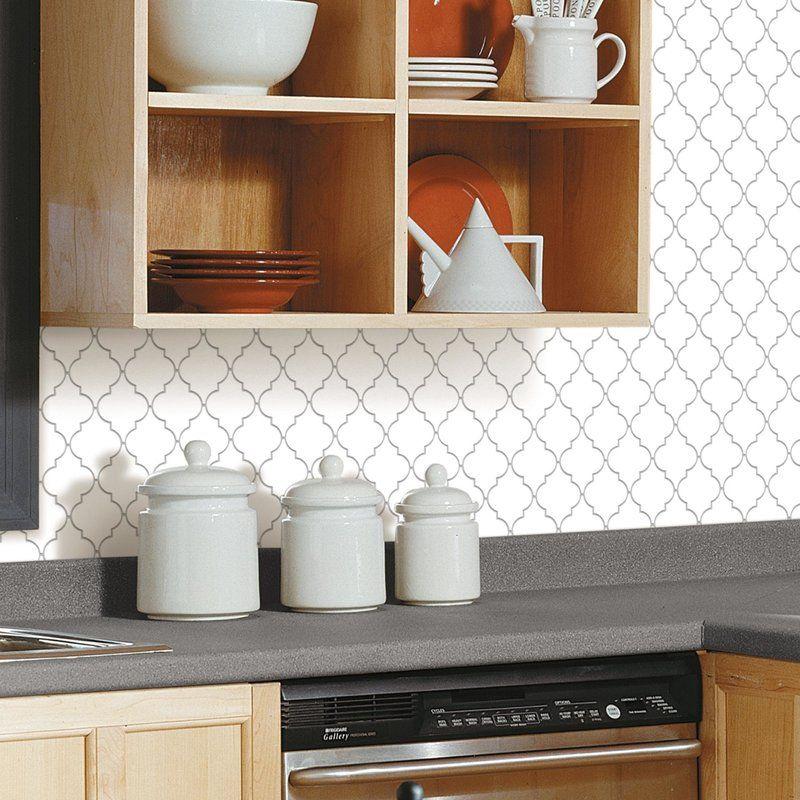 Arabesque 10 5 X 10 5 Pvc Peel Stick Mosaic Tile In White
