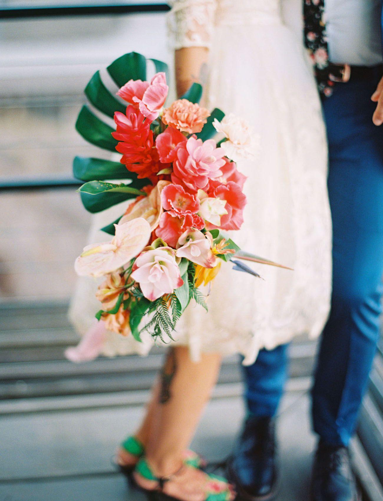 Talk About Tropical Colorful Tiki Bar Themed Wedding In San Diego Green Wedding Shoes Fresh Wedding Flowers Tropical Wedding Bouquets Cascading Wedding Bouquets