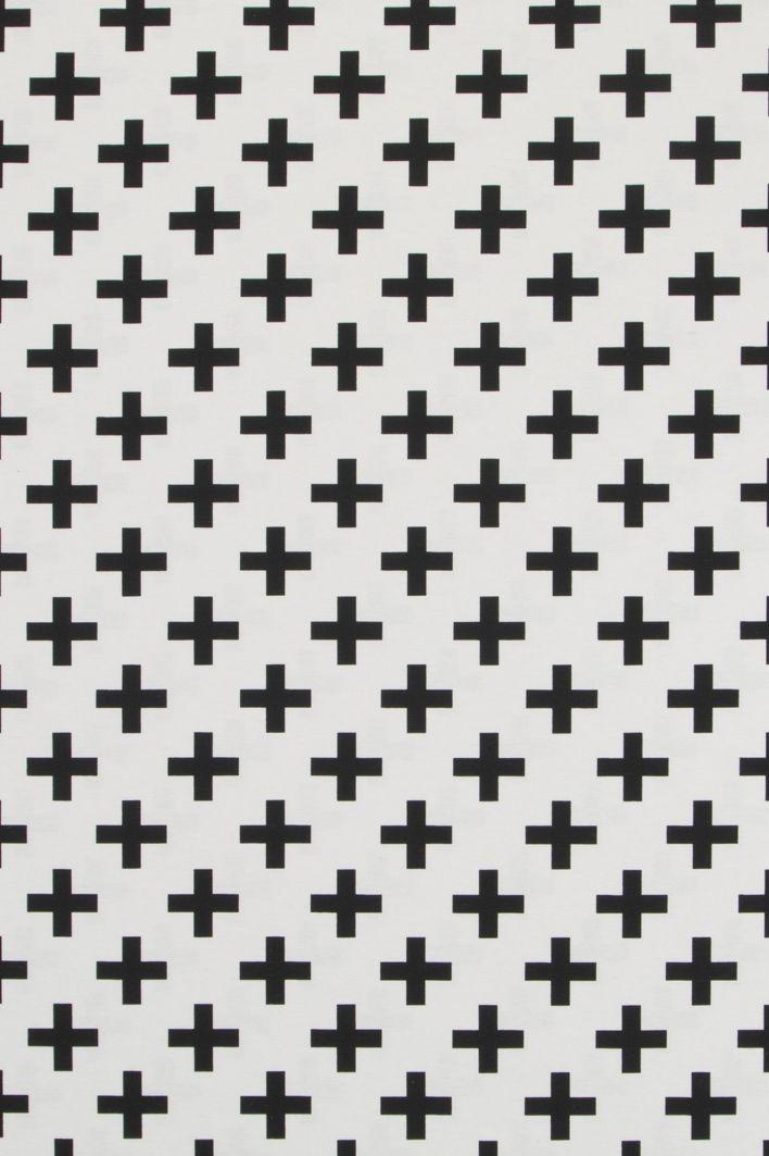 Ottoman stof zwart met wit kruis, plus motief klein; geschikt voor ...