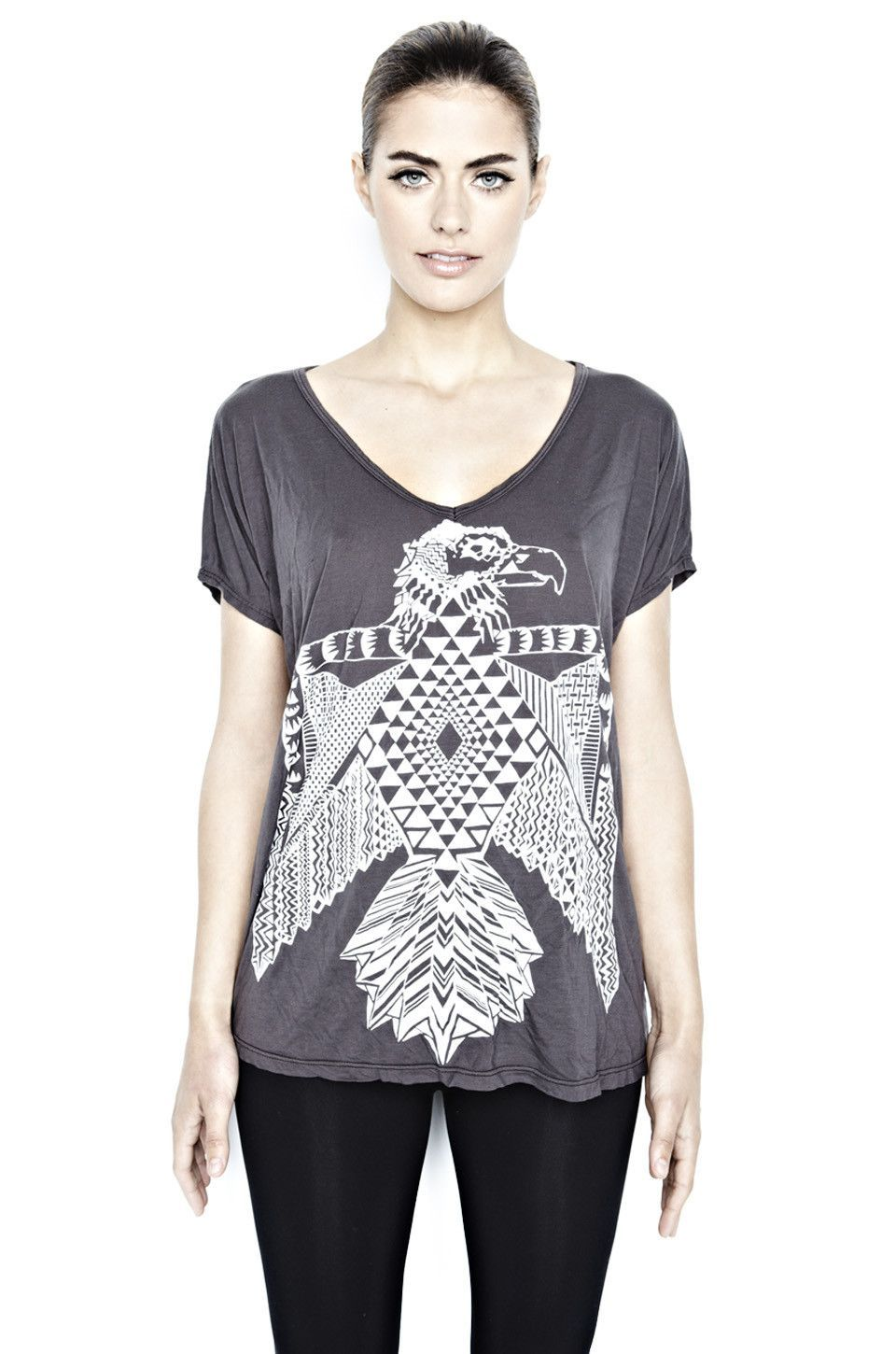 April Thunder Bird Oversized V-Neck Tee
