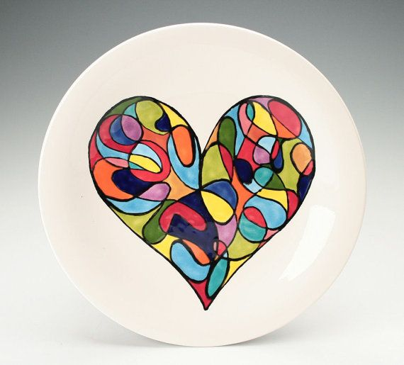 Retro Mod Heart Plate Just An Idea To Inspire Creative Hand And Foot Prints On Plates Mugs Etc A Pottery Painting Hand Painted Ceramics Paint Your Own Pottery
