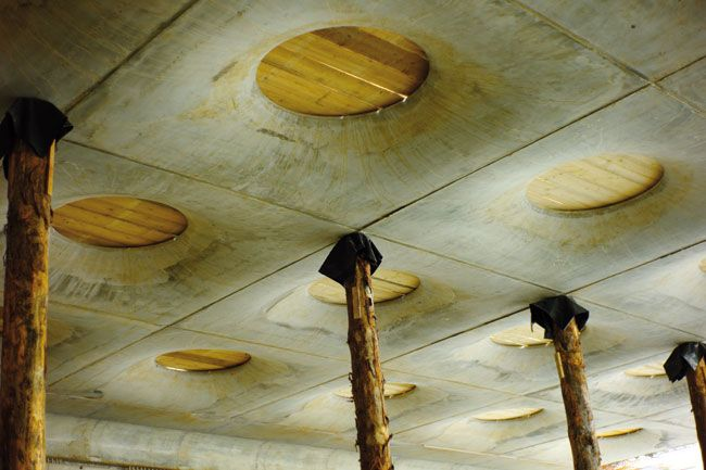 Stadel Museum extension; Ceiling detail before skylight installation.