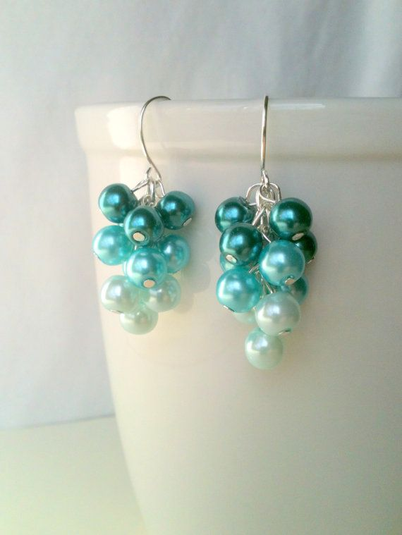 Teal, Turquoise, Light Blue Ombre Glass Pearl Bead Cluster Earrings ...