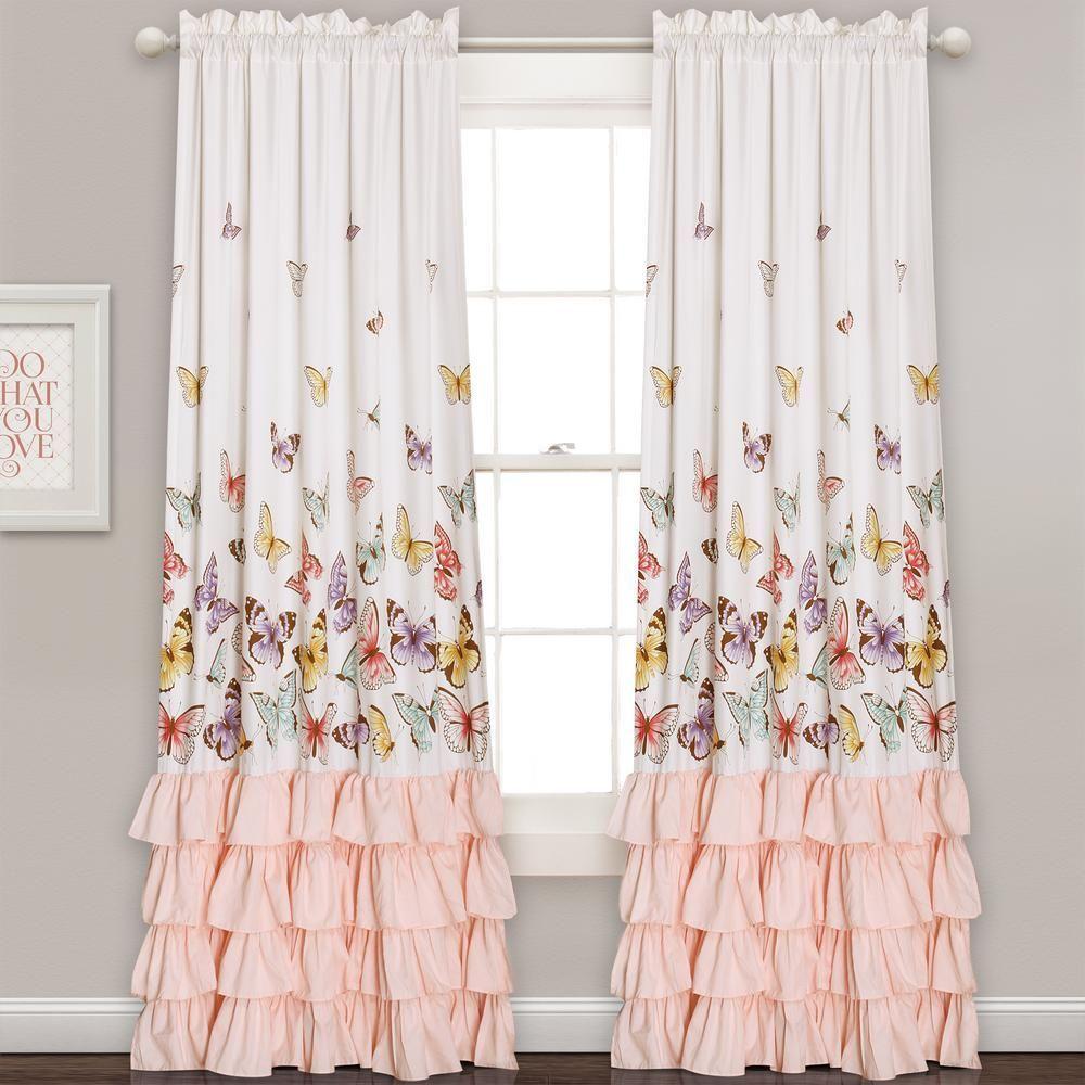 Outside window treatment ideas  lush decor flutter butterfly juvy window panel pink   in x  in