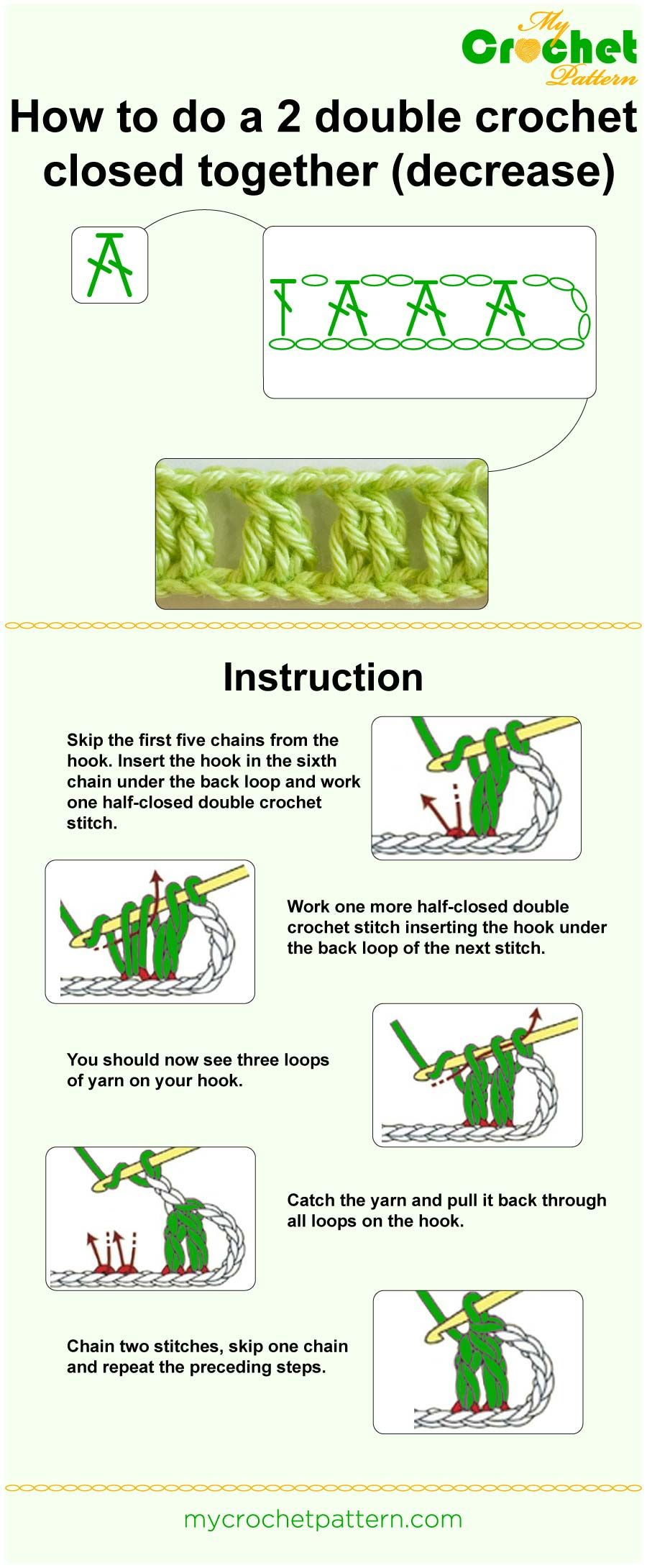 2 Double Crochet Closed Together Tutorial Rajutan Pinterest Half Diagram And On How To Do A Dc Infographic