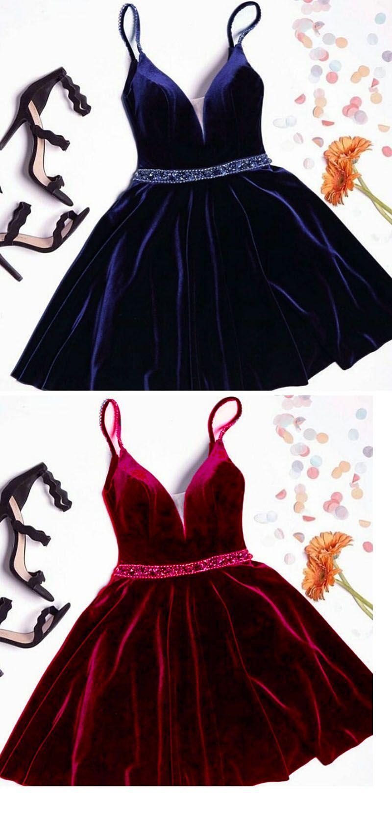 Velvet prom short cocktail dress with spaghetti straps beading belt