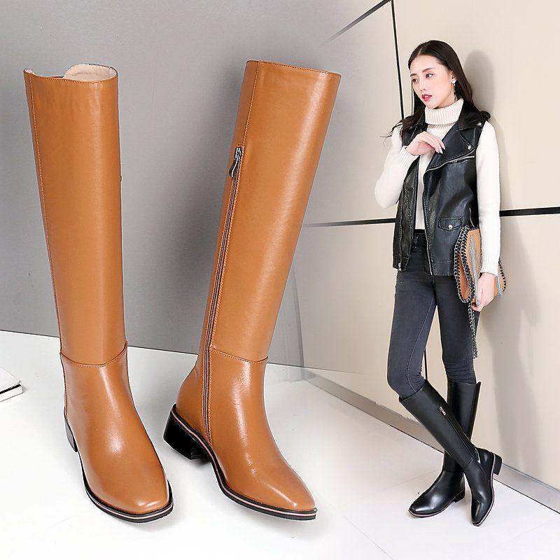 3133be189c0b Smirnova black fashion autumn winter shoes woman square toe genuine leather  knee high boots women low