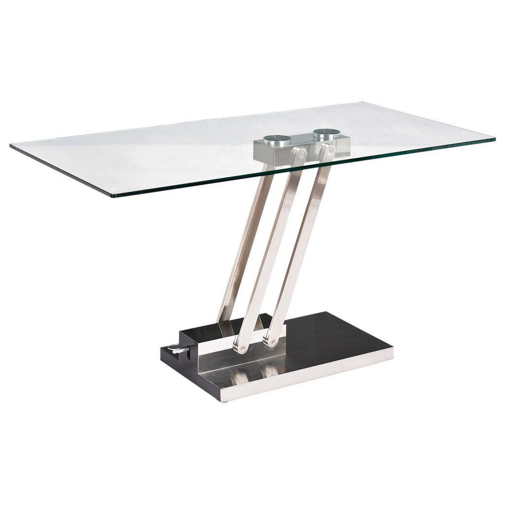 Furniture Interior Rectangle Glass Side Table With Chrome Metal Pedestal Base Adjustable Height Side Table Coffee Table Convert To Dining Table Adjustable Height Side Table Chintaly