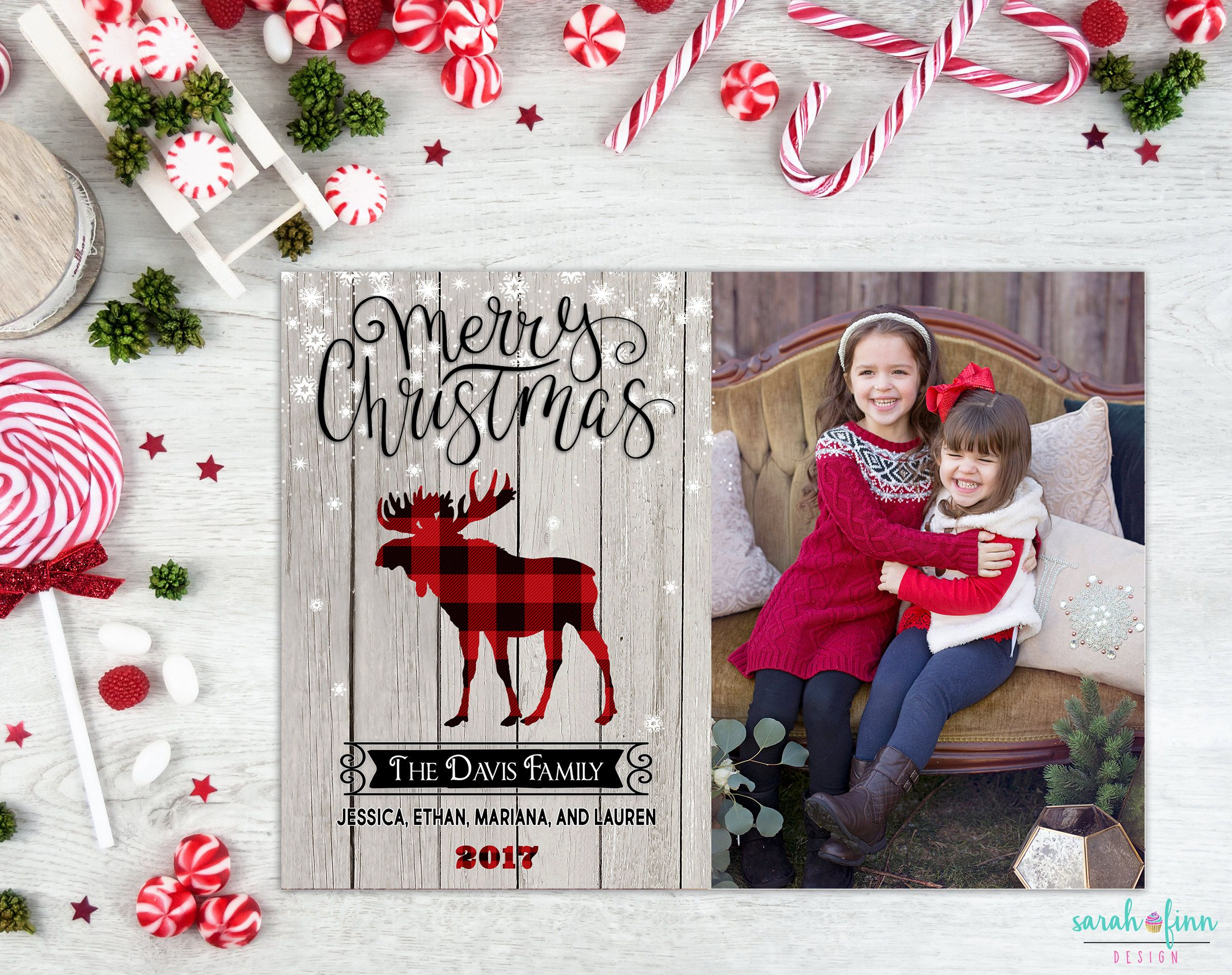 Buffalo Plaid Christmas Card Moose Photo Collage Rustic Etsy Buffalo Plaid Christmas Card Plaid Christmas Card Christmas Cards