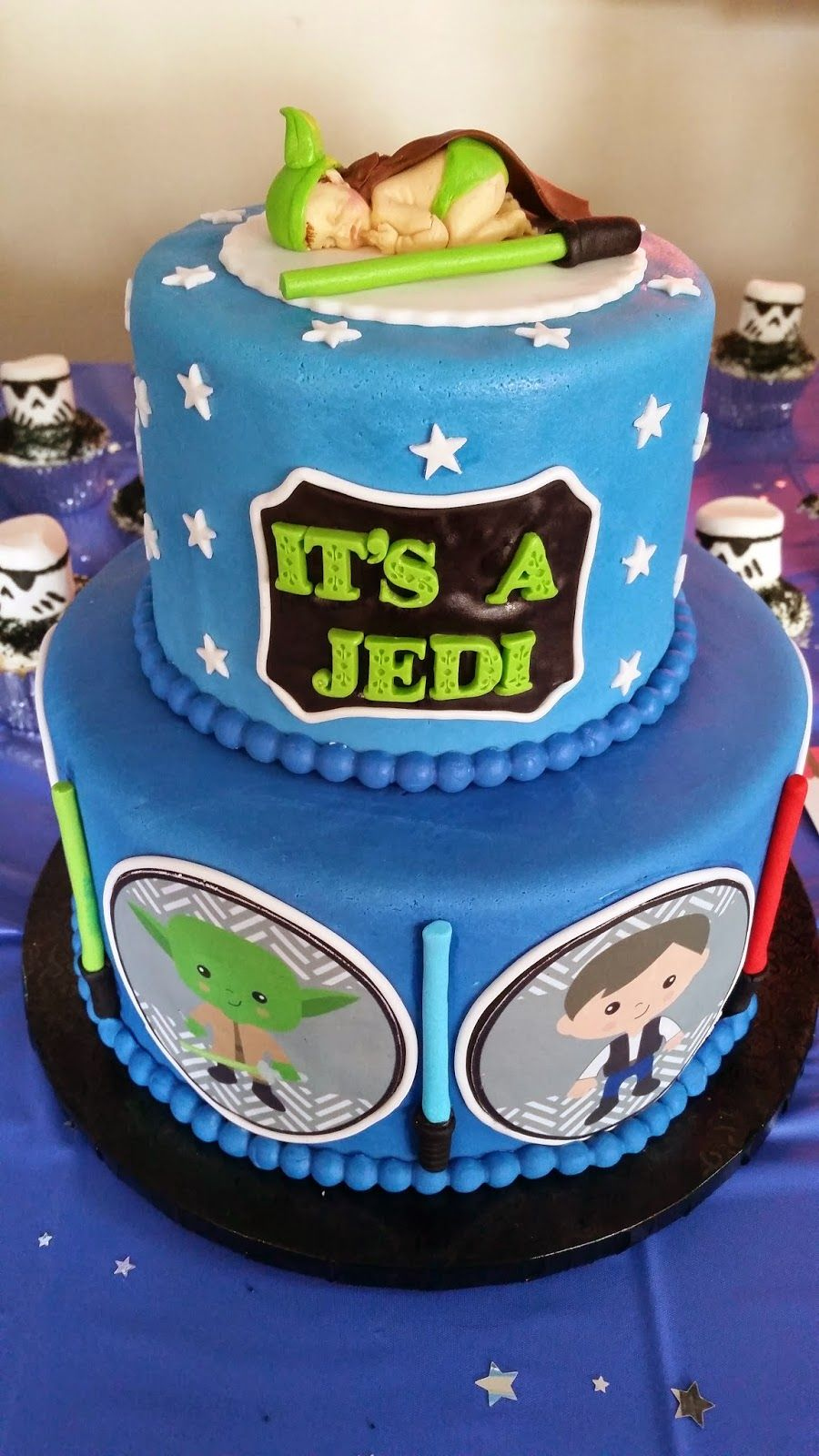 Delightful Star Wars Themed Cake For A Baby Shower! I Like The Baby Boy On Top