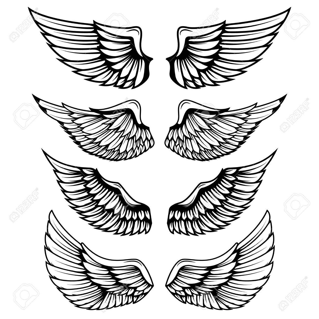 Vintage Wings Isolated On White Background Design Elements Royalty Free Cliparts Vectors And Stock Illustra In 2020 Wings Tattoo Neck Tattoo Wing Tattoo Designs