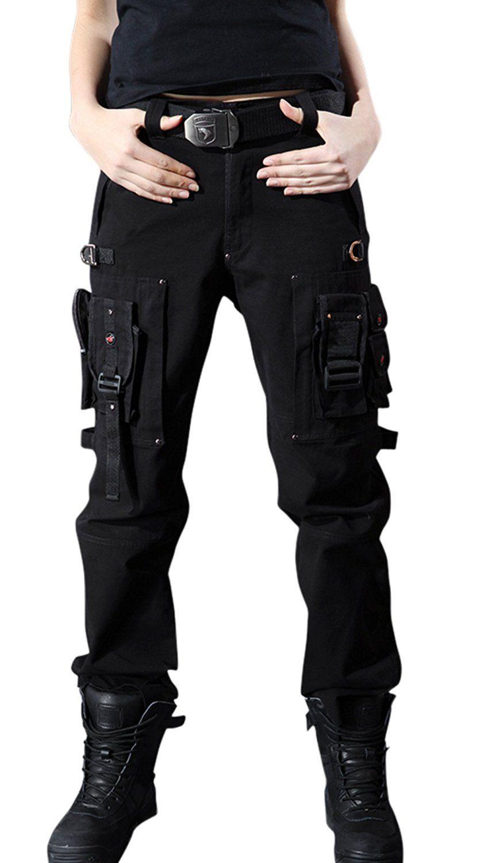 2d10e98b6 Chouyatou Women s Stylish Military Multi-Pockets Wild Cargo Pants at ...