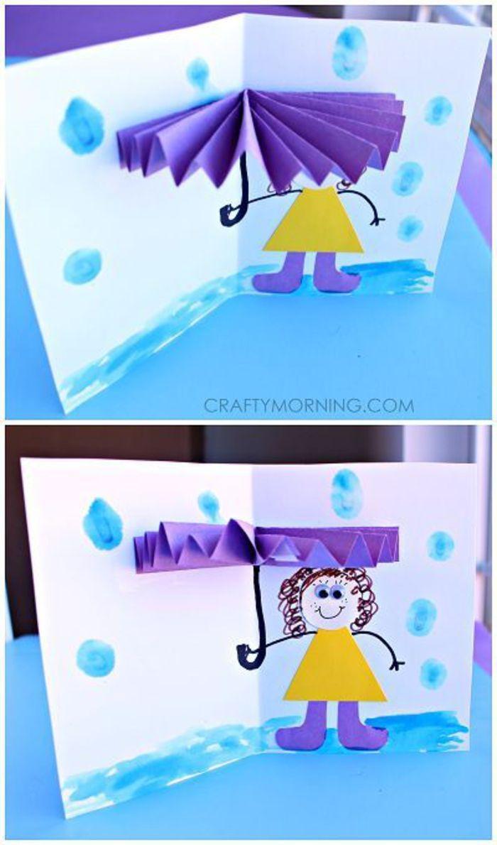 lustige und kreative Postkarte selber basteln, 3D Regenschirm, DIY Ideen zum Nac... - Bastelideen Kinder #herbstbastelnmitkindern