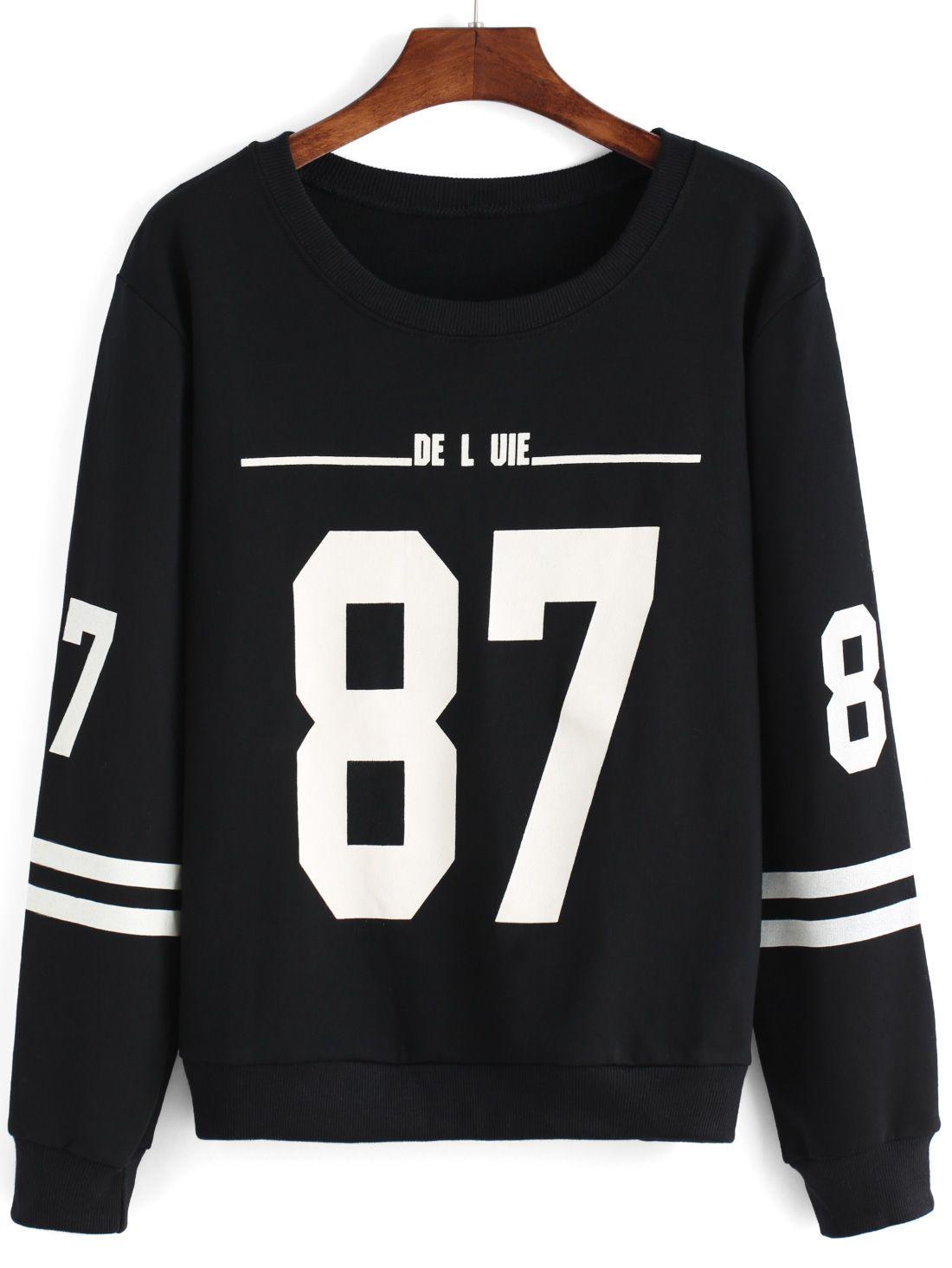 Round Neck Number Print Striped Black Sweatshirt | Rounding ...