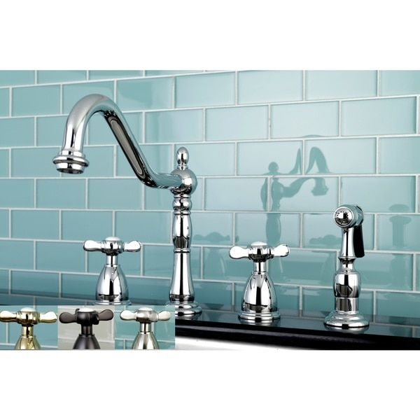 Victorian Cross-Handle Kitchen Faucet w/ Side Sprayer | faucets ...