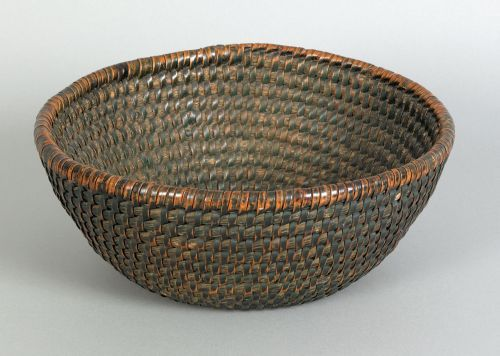 """Realized Price: $ 5451   Pennsylvania rye straw gathering basket, 19th c., retaining an early green painted surface, 5"""" h., 11 1/2"""" dia. ~♥~"""