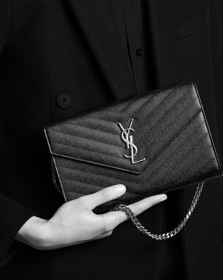 3929eee71a2 Matelassé chain wallet. saintlaurent, Monogram Saint Laurent Chain Wallet  in Black Grain de Poudre Textured matelassé Leather Ysl