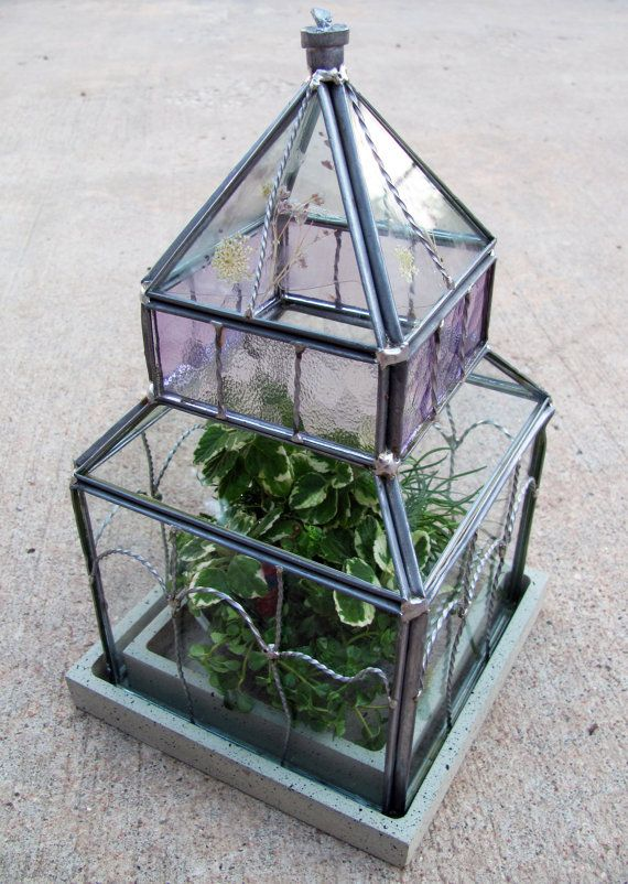 Large Stained Glass Wardian Terrarium Filled With A Variety Of Plants