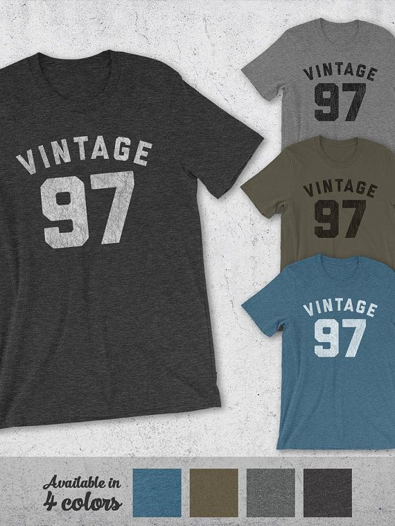 A Soft Vintage Style Tee Featuring The VINTAGE 97 Graphic Print On Front This Unisex Is Perfect 21st Birthday Gift Idea For Men And Women