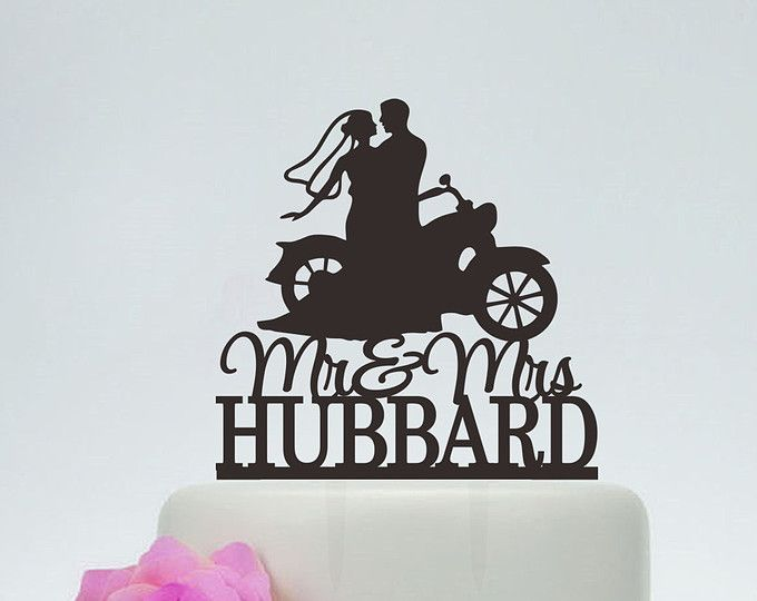 Mr And Mrs Wedding Cake Topper With Last Name Bride Groom On Motorcycle Silhouette Custom Moto C125