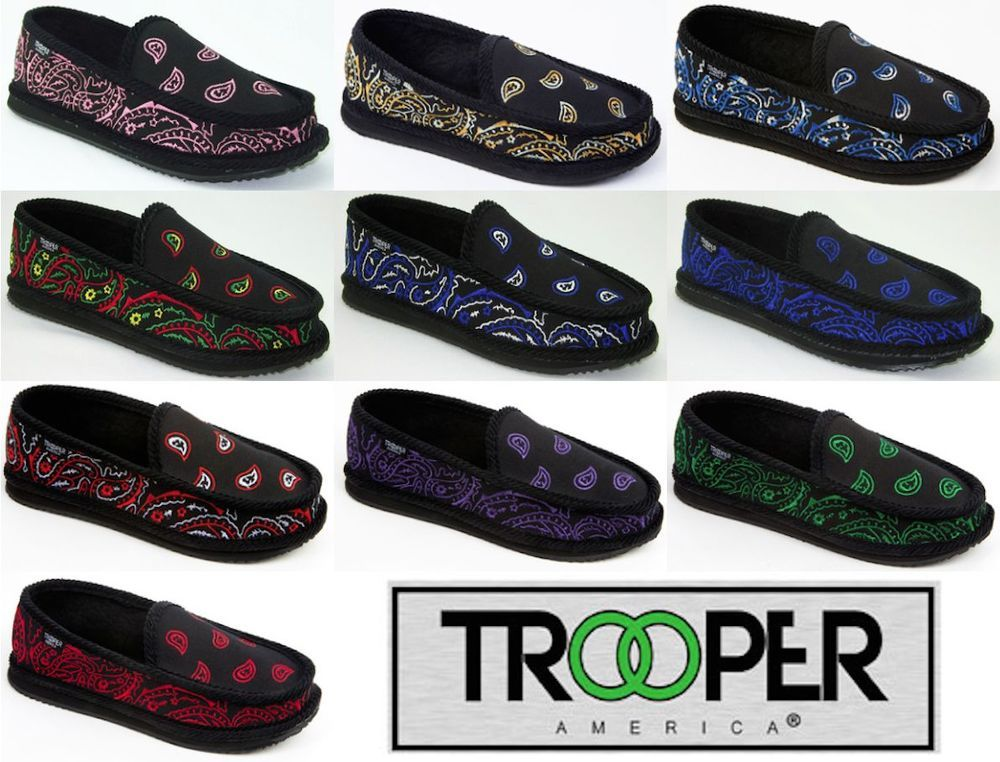 7e6b1f9da1e4 Trooper America Embroidered paisley Bandana SLIPPERS HOUSE SHOES Gangsta  Rag  TROOPER  HouseShoes