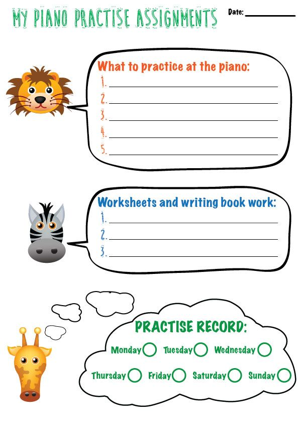 Beginner Assignment Sheet For Piano Students Assignment Sheet
