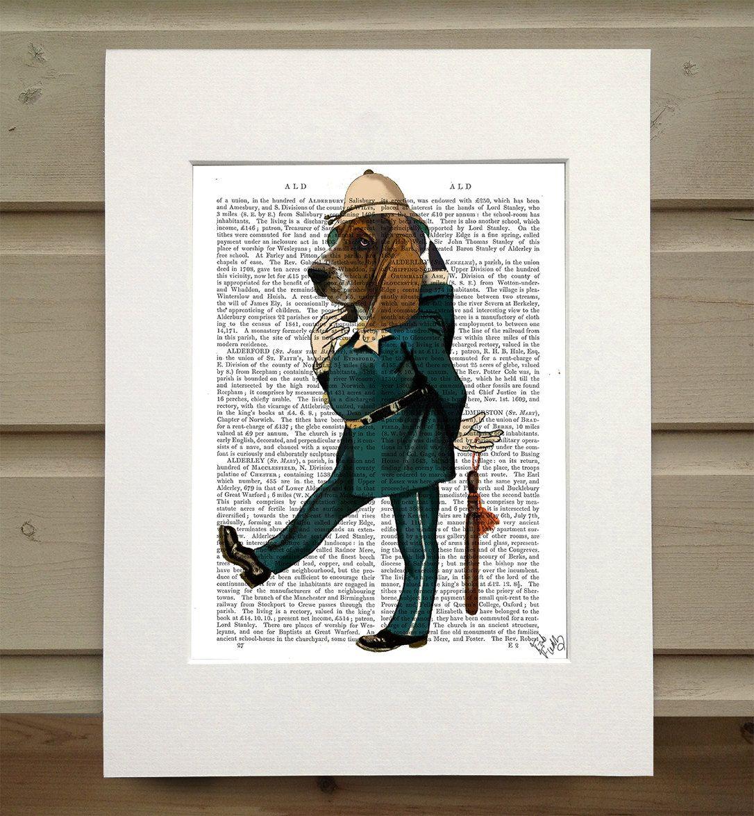 Basset hound art - police officer Basset hound print police gift ...