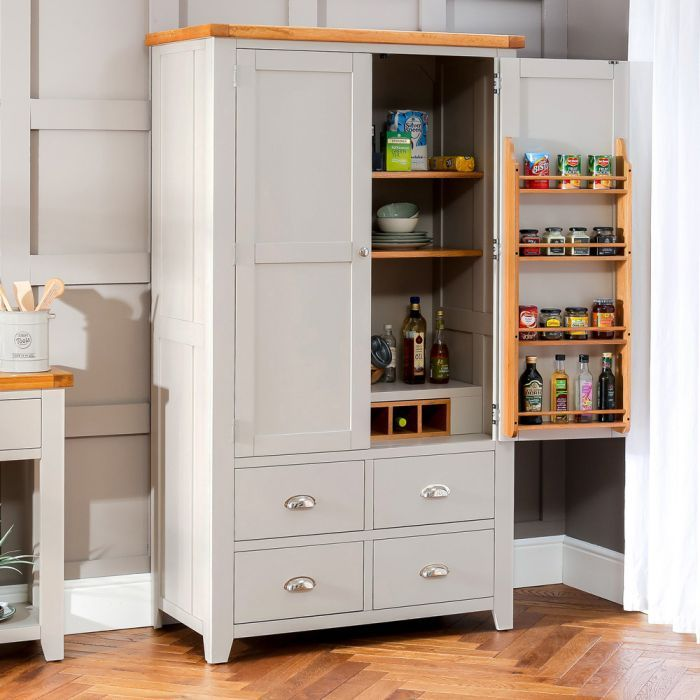 Best Downton Grey Painted Kitchen Large Double Larder Pantry 400 x 300