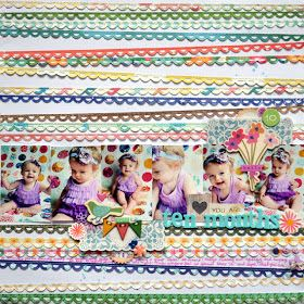 Layout by Paige Evans. 6 photos and lots of border punch use.