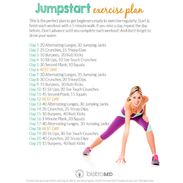 Want To Ease Into Working Out But Not Quite Sure Where To Start Try Our 21 Day Jumpstart Exerci Workout Plan For Beginners Workout For Beginners Workout Plan