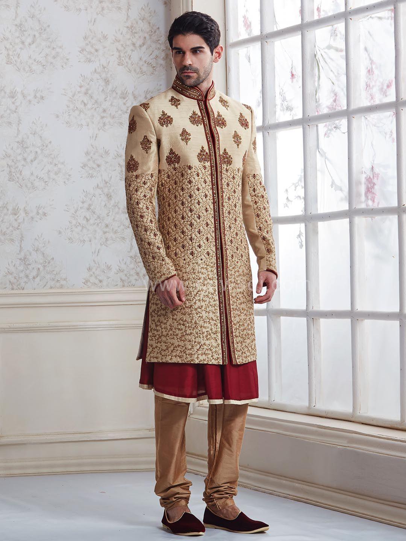 10caa8615a Wedding Raw Silk Layered Indo Western Sherwani #rajwadi #designer  #exclusive #trendy #sherwani #wedding #collection #embroidered