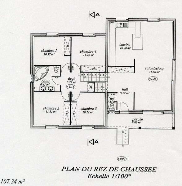 plan maison demi sous sol 4 chambres