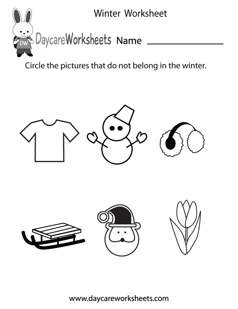 Preschoolers have to circle the pictures that do not belong in – Winter Worksheets for Kindergarten