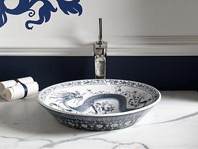 kohler k 14223 vb 0 imperial blue design on conical blau designwaschbecken armaturenschiff waschbeckendrachenmustersanitrarbeitsplattedamentoilette - Kohler Waschbecken Armaturen