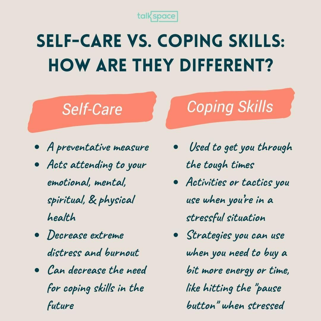 Photo By Talkspace On August 06 2020 Image May Contain Text That Says Alkspace Self Care Vs Coping Skills How Coping Skills Stressful Situations Emotions