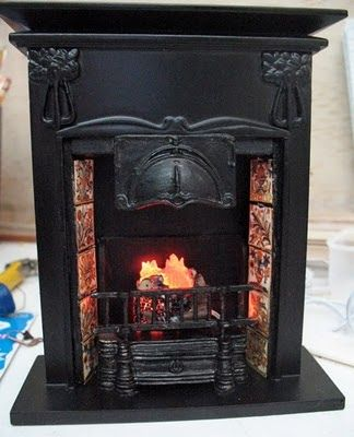 TOWN SQUARE Dollhouse Miniatures WOOD FIRE PLACE New In Box