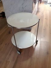 Ikea Round White Glass Coffee Table Side Table Easily Moved Side