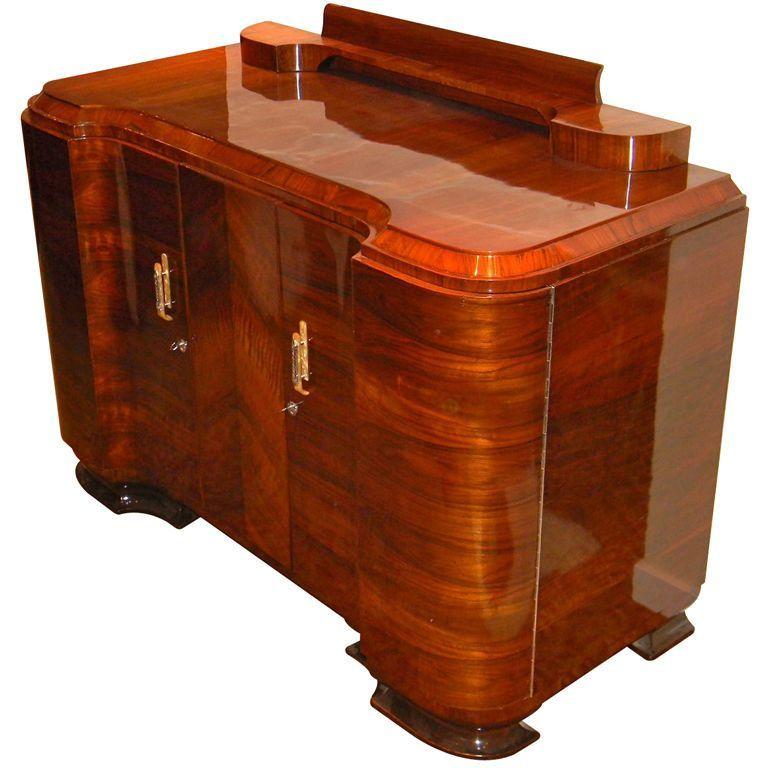 Amazing quality Art Deco Walnut curved buffet or storage unit   From ...