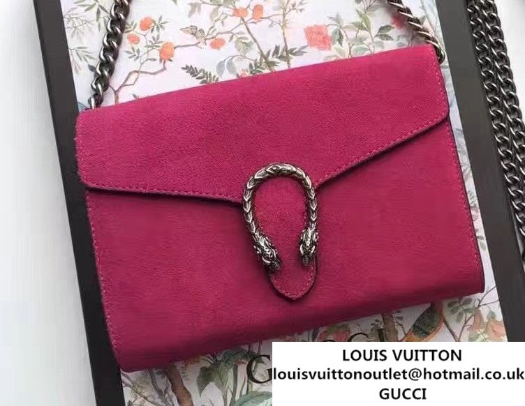 9771bd063c Gucci Dionysus Suede Mini Chain Wallet Bag 401231 Fushia 2016
