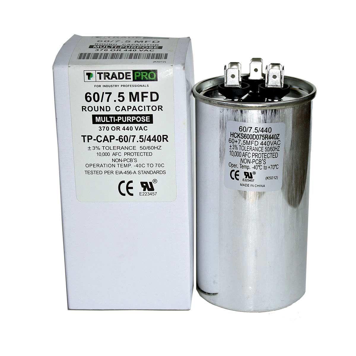 60+7.5 MFD 370 or 440 Round Dual Run Capacitor, TPCAP60