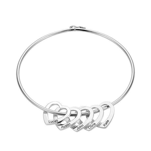 Bangle Bracelet With Heart Pendants