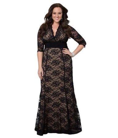 8684f46e658 ... plus size fashion forward women. designer Mid long lace sleeve black  and nude burnout evening party cocktail dresses - trendy dress