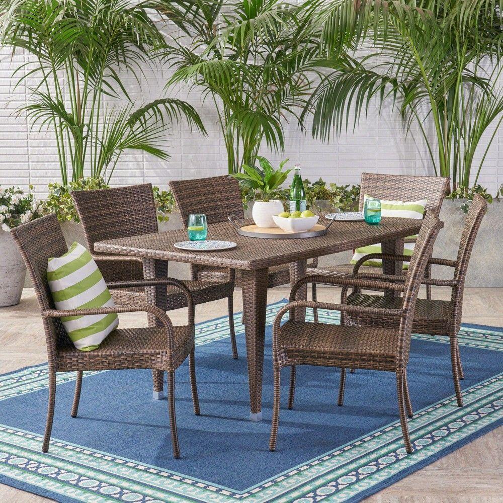 Delani 7pc Wicker Patio Dining Set Mixed Mocha Christopher