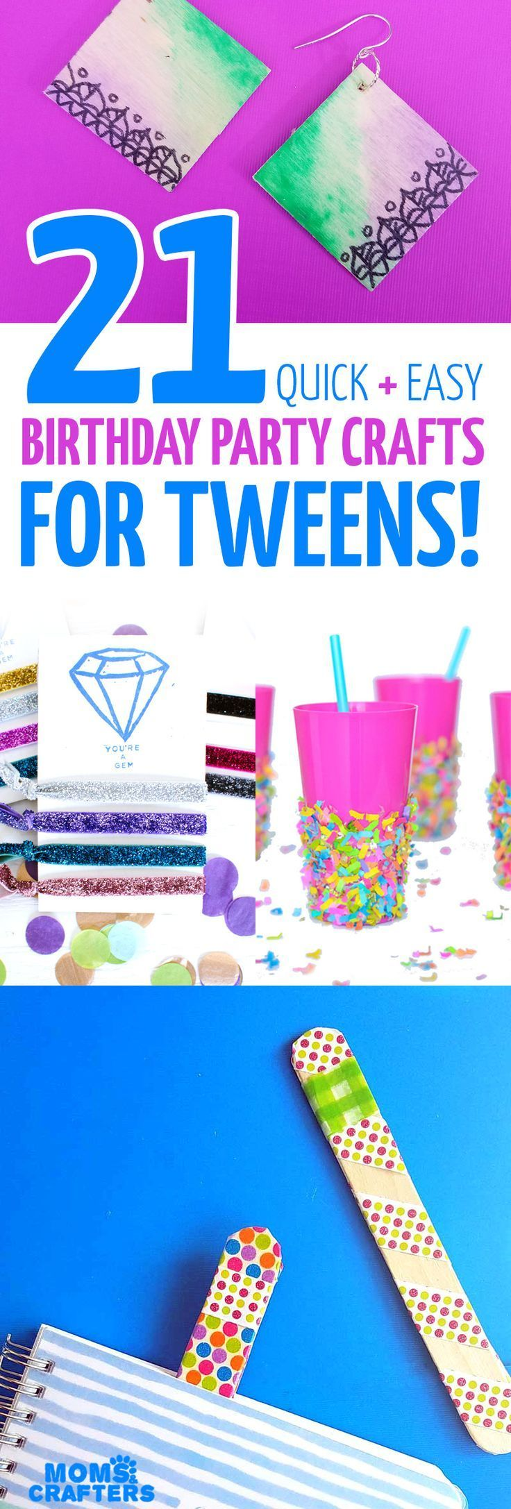 Try one of these cool birthday party crafts for tweens! - Birthday party for teens, Birthday party crafts, Birthday party activities, Tween birthday, Tween birthday party, Birthday party games - they're quick, easy, and fun!
